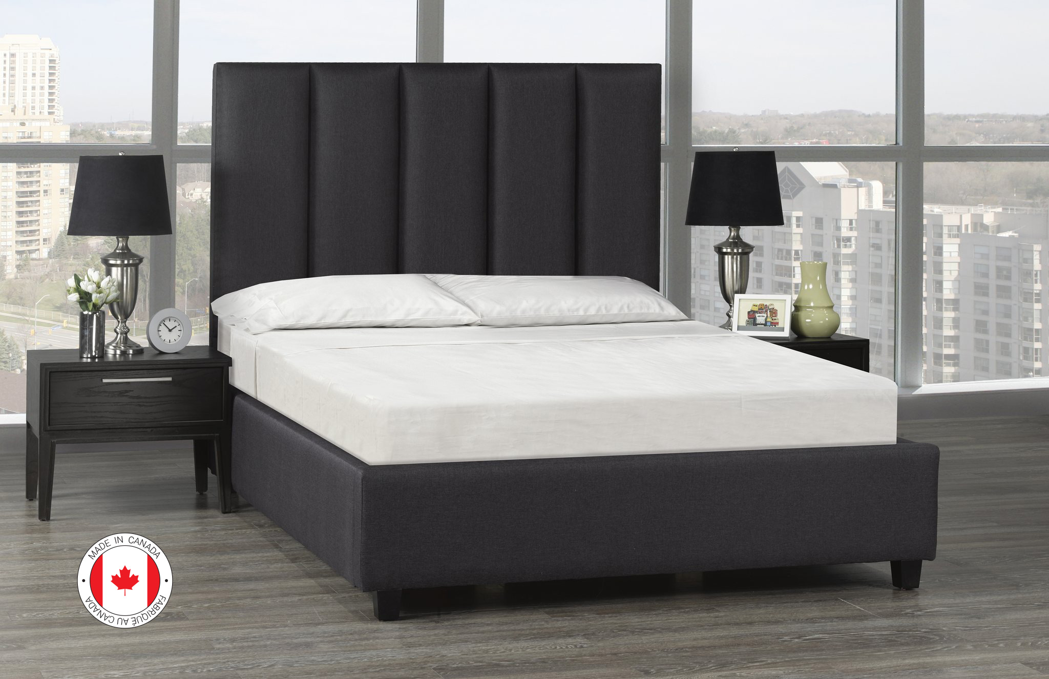 Celine Platform Bed, Queen Size - Dark Grey Linen