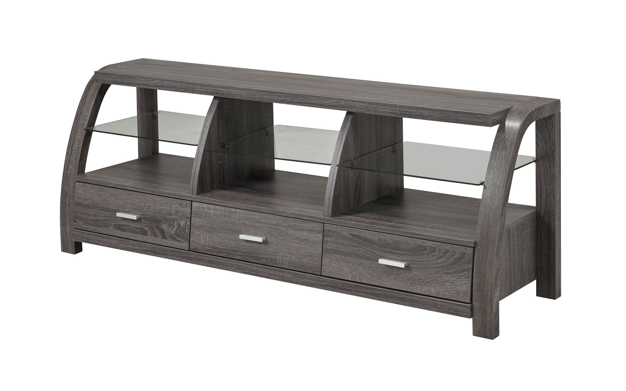 GLASS TV STAND DISTRESSED GREY