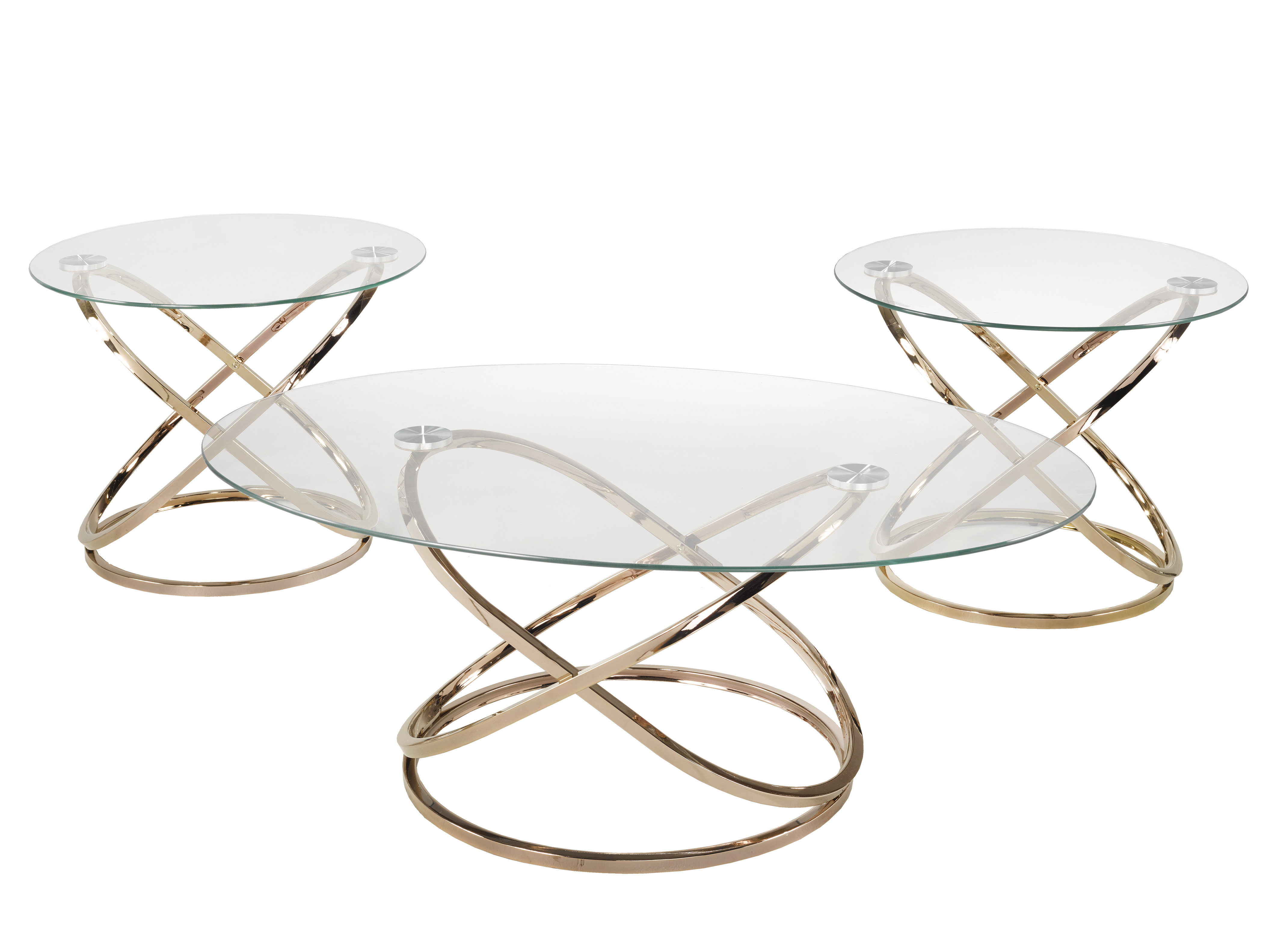 3 PIECE COFFEE TABLE SET - ROSE GOLD