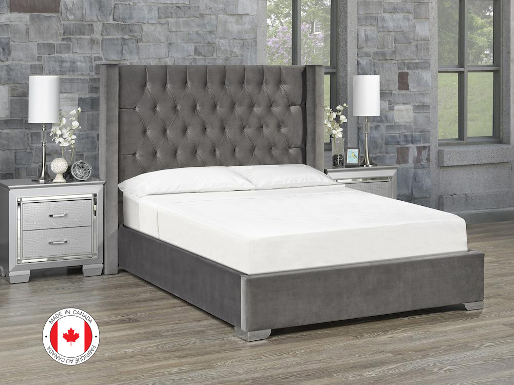 Kona Platform Bed, Queen Size - Ivory Fabric