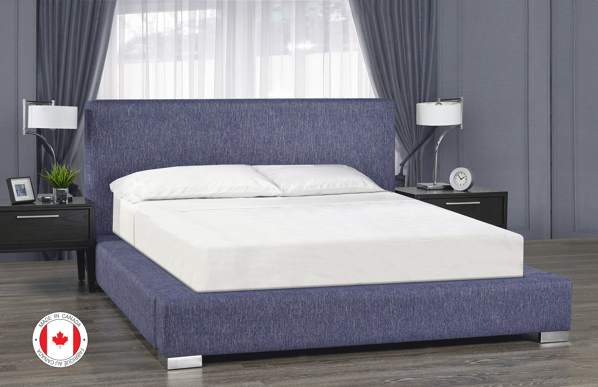 Jasper Platform Bed, Full Size - Blue Linen