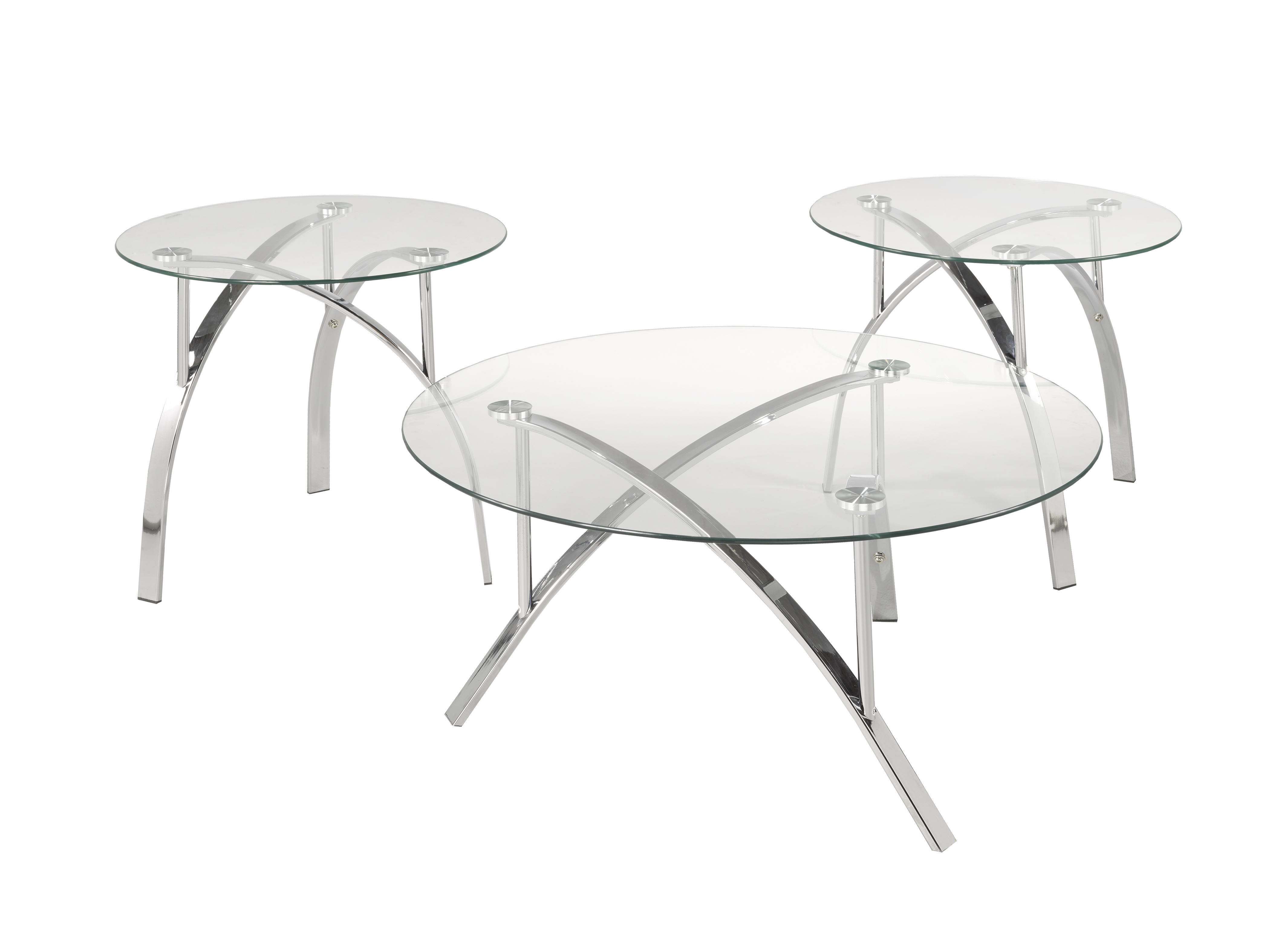 3-PIECE COFFEE TABLE SET - SILVER
