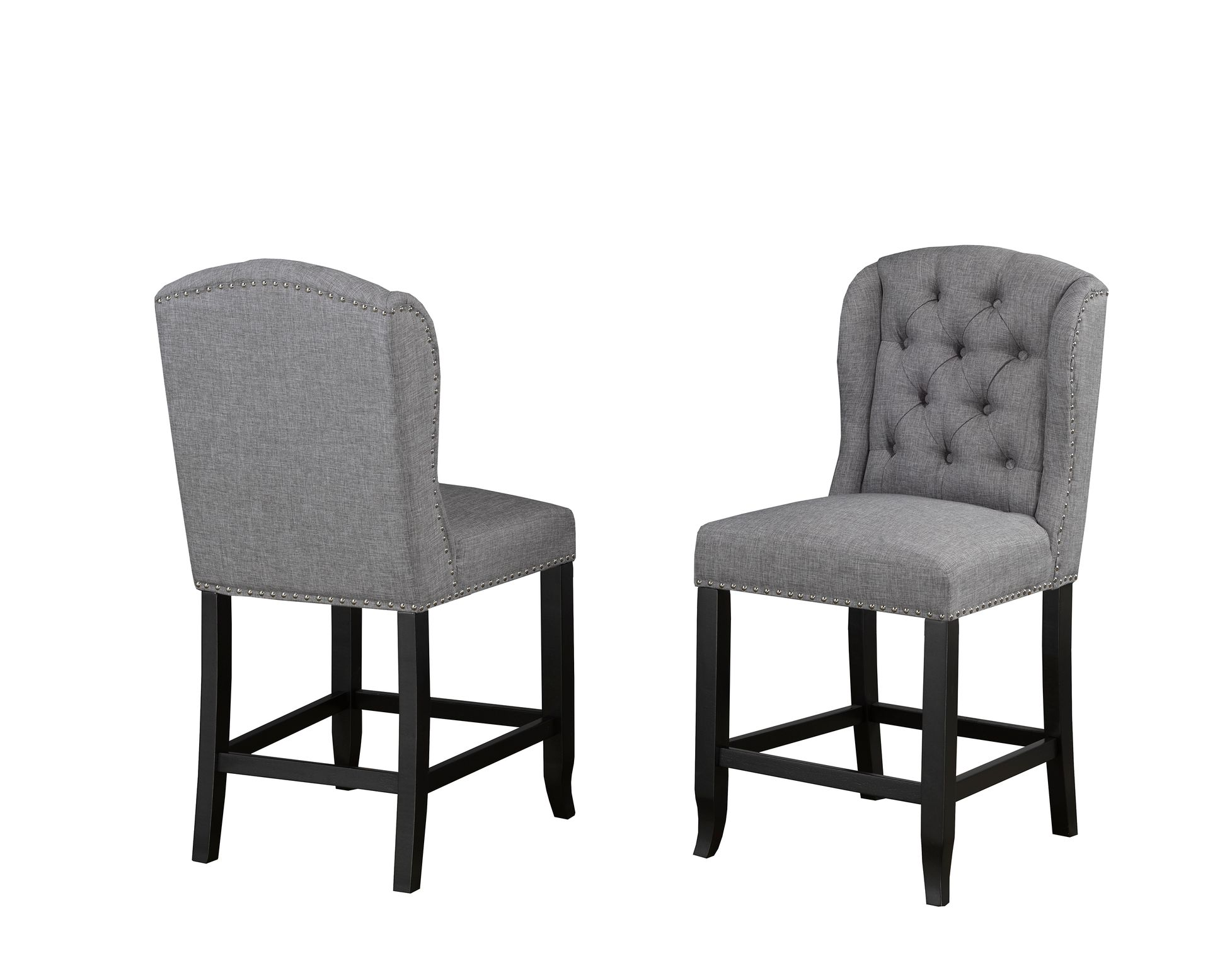 MEMPHIS 24' BARSTOOL GREY FABRIC (BAR STOOL SET OF 2 )