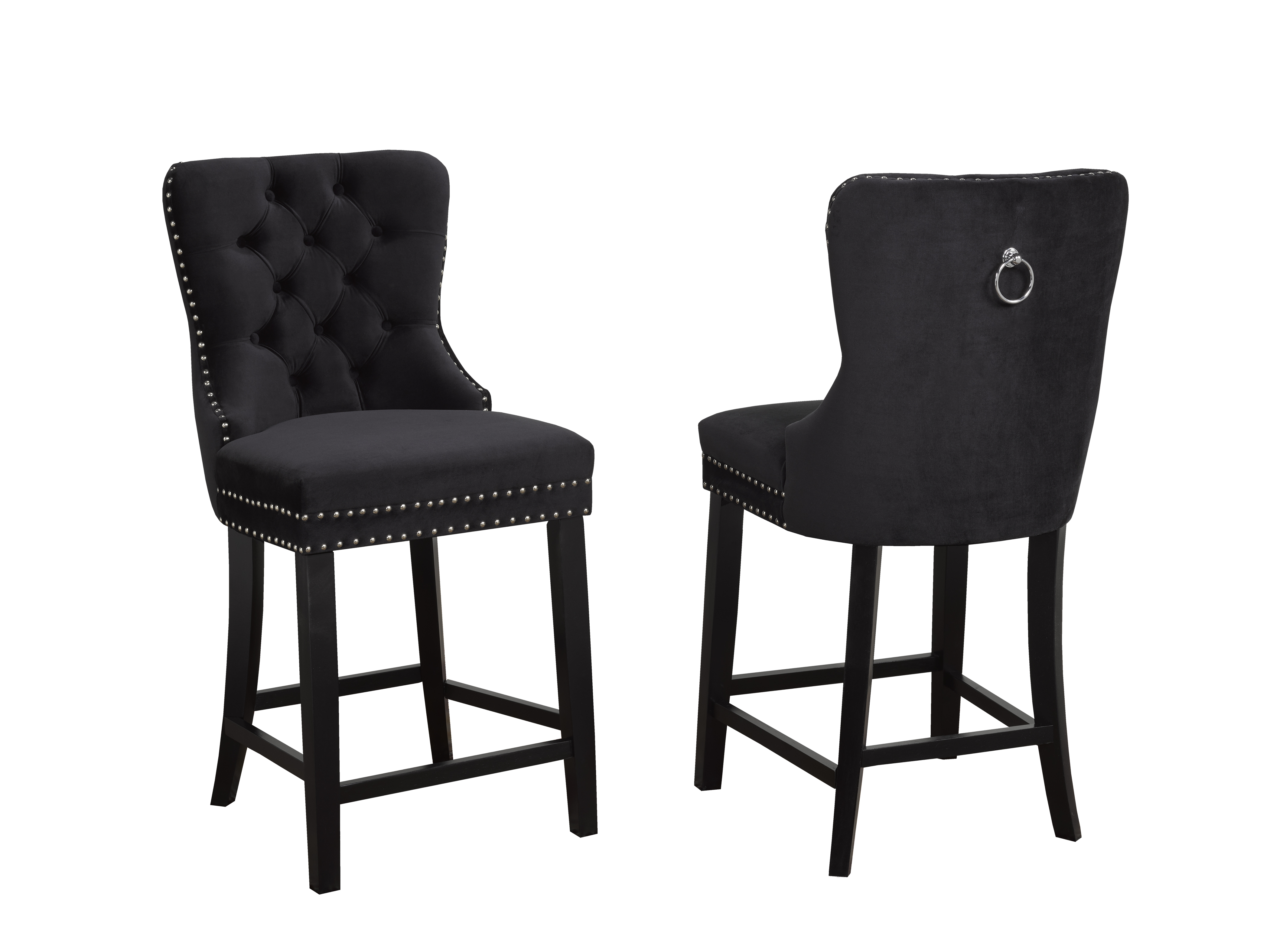 BARSTOOL BLACK FABRIC (SET OF 2)