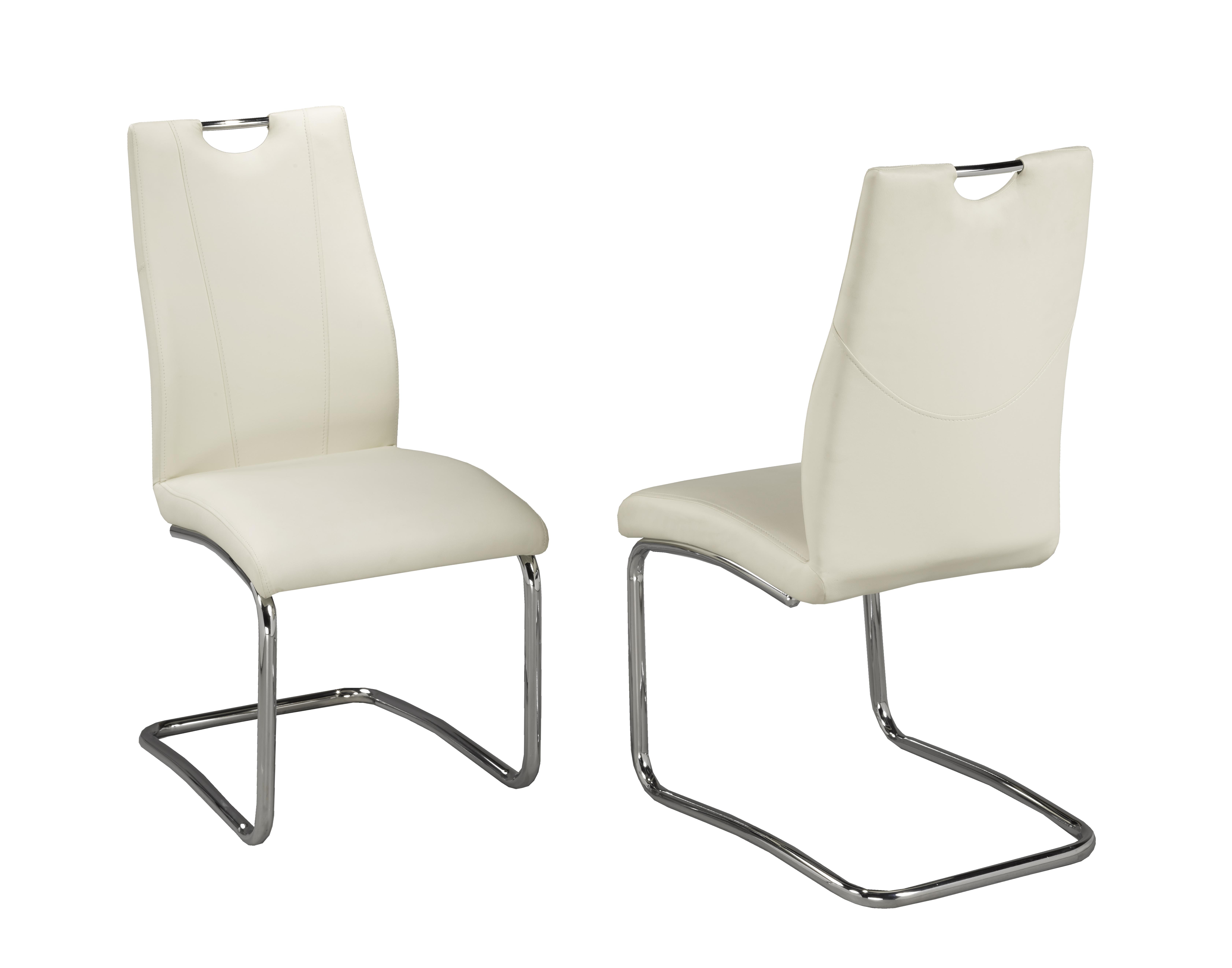 POPPY WHITE PU CHAIR W/CHROME LEGS (DINING CHAIR SET OF 2 )