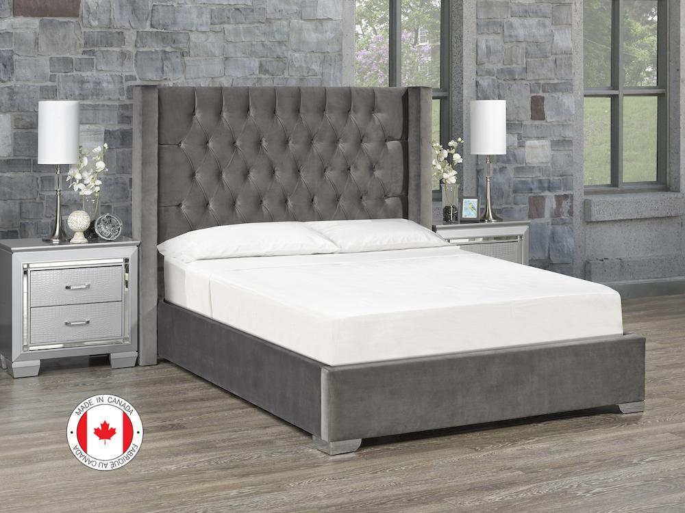 Kona Platform Bed, Full Size - Ivory Fabric