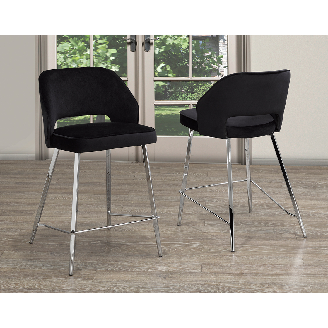 ELLA COUNTER STOOL, SET OF 2, BLACK