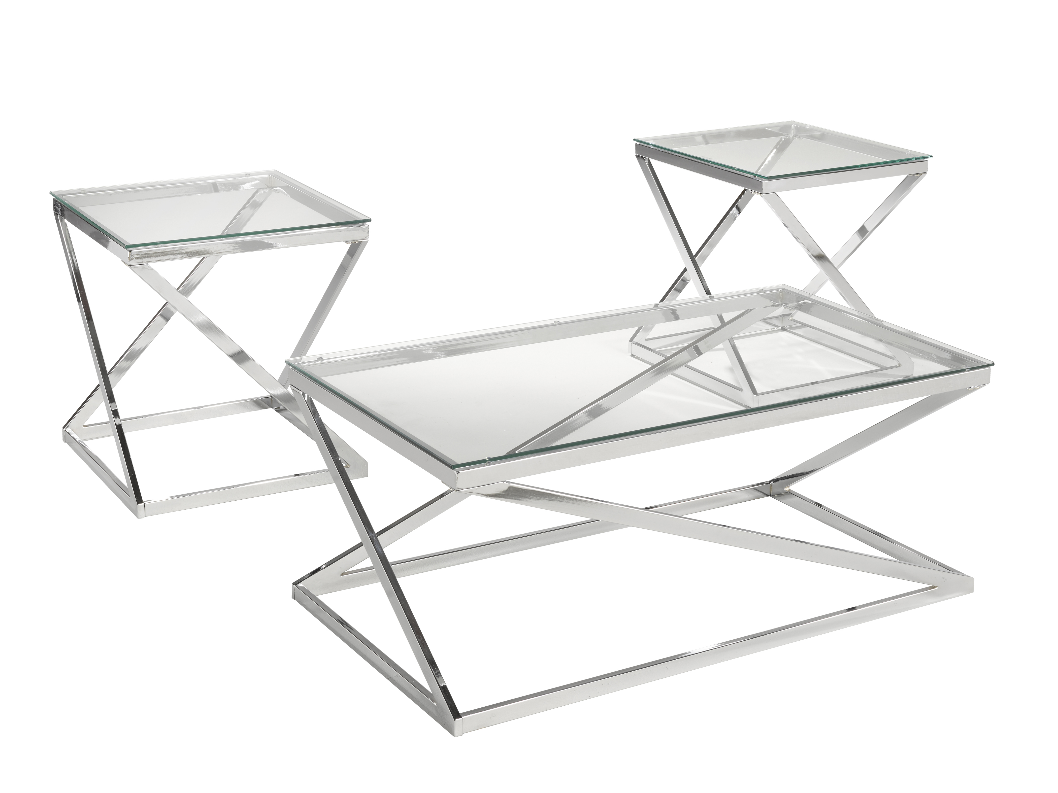 3-PEICE COFFEE TABLE SET - SILVER