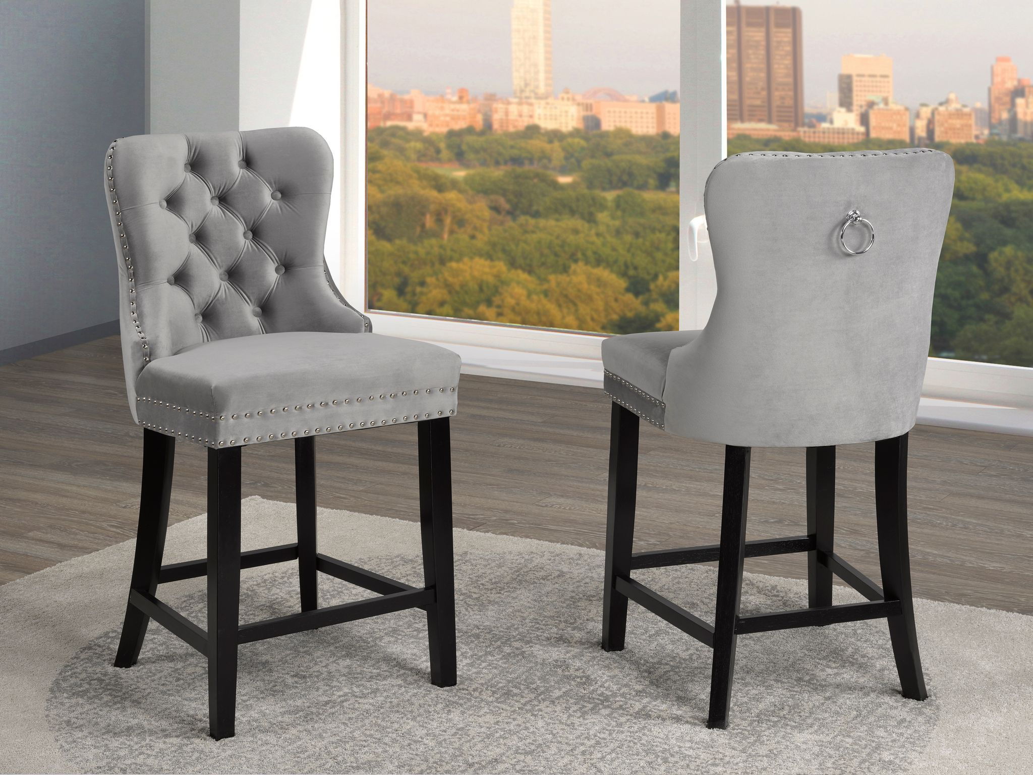 BARSTOOL GREY FABRIC (SET OF 2)