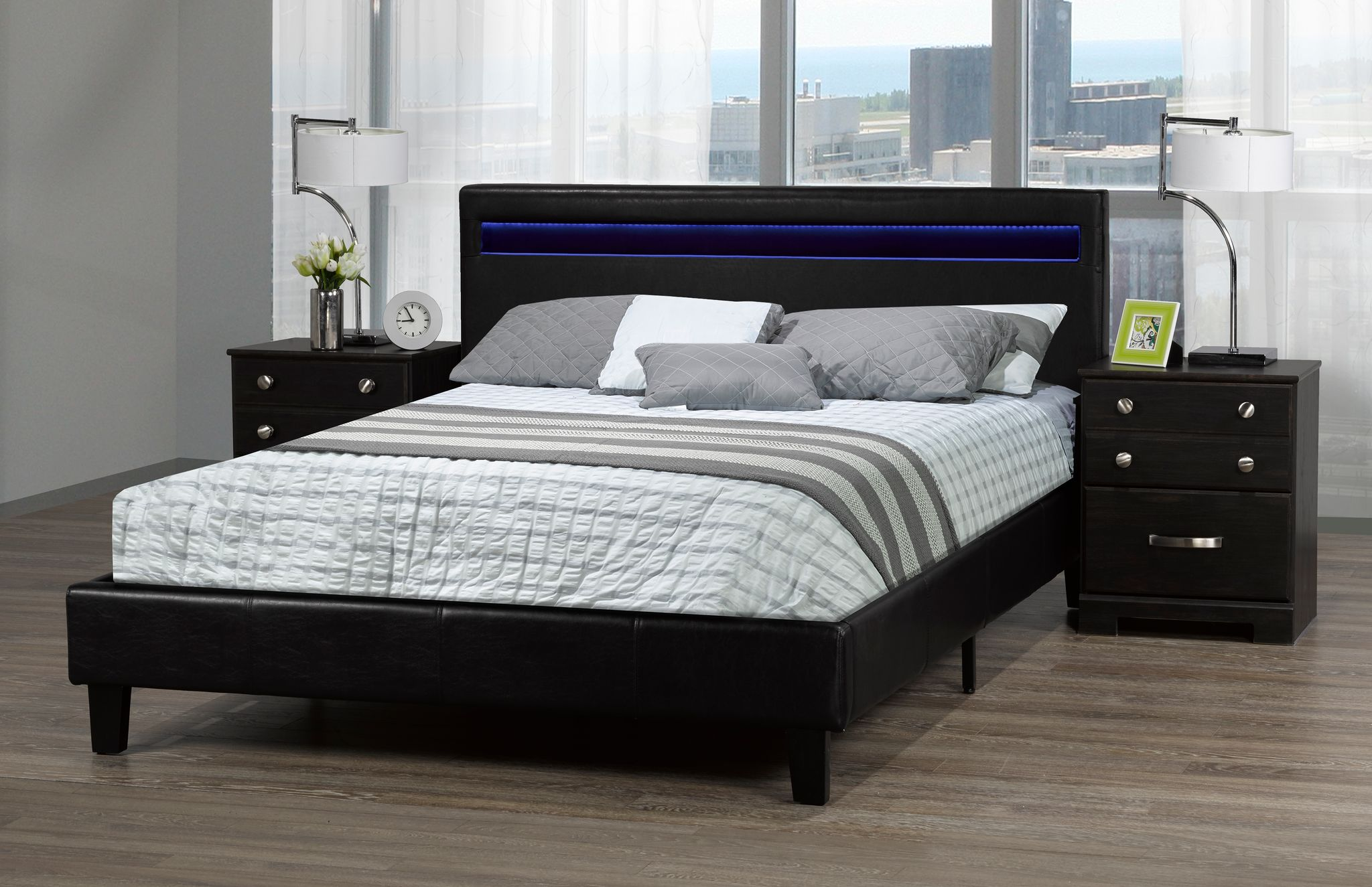 DHARA DOUBLE BED IN A BOX BLACK W/LIGHT