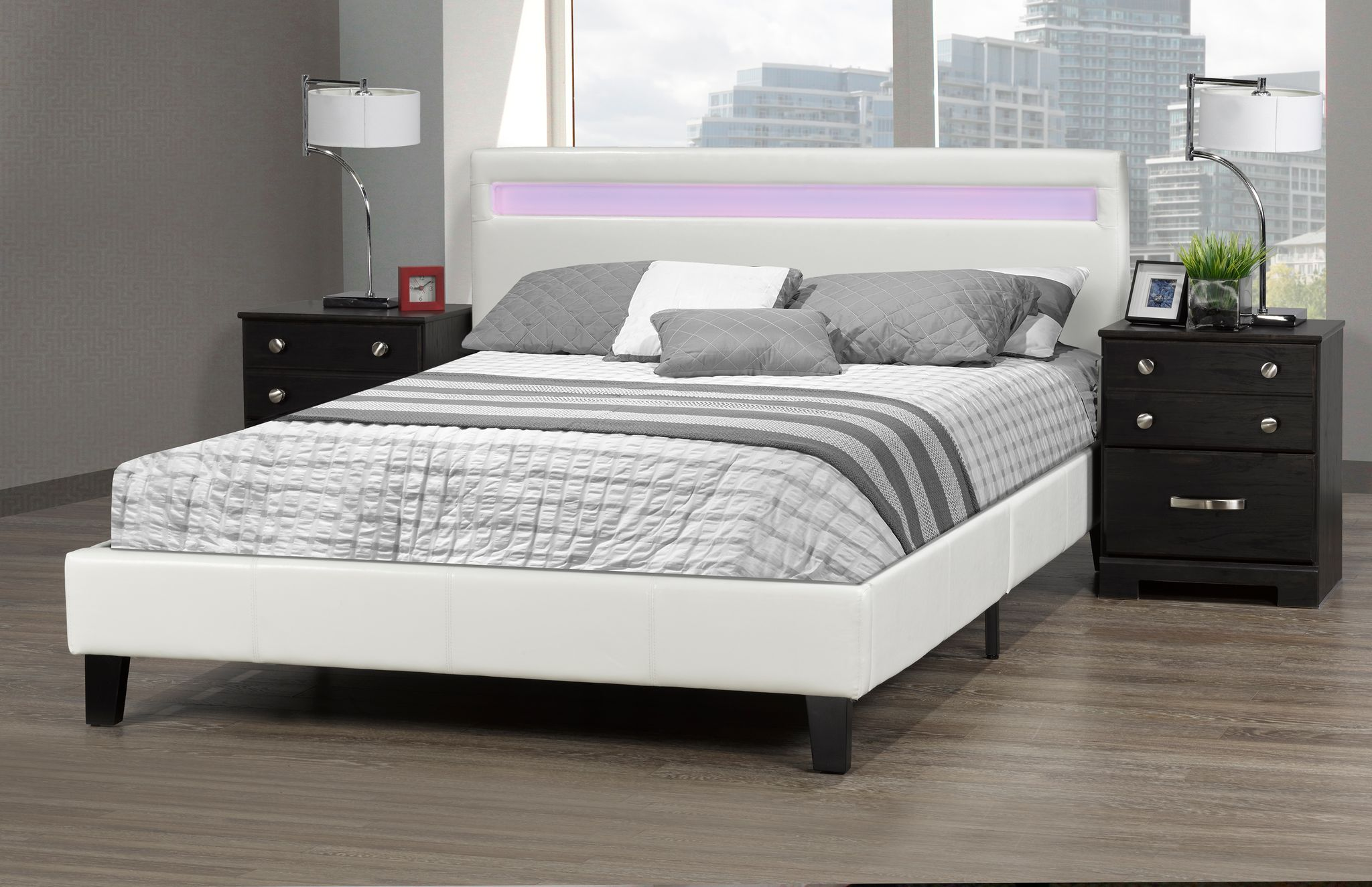 DHARA DOUBLE BED IN A BOX WHITE W/LIGHT