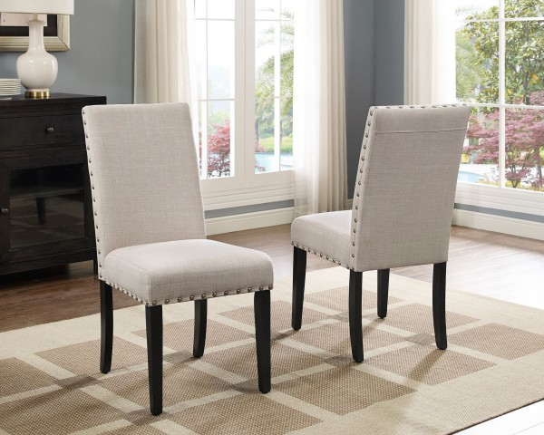 AVERY SIDE CHAIR W/BEIGE FABRIC (DINING CHAIR SET OF 2 )