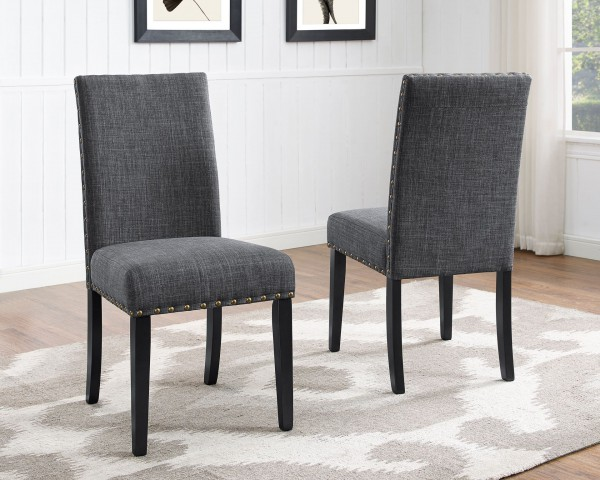AVERY SIDE CHAIR W/GREY FABRIC (DINING CHAIR SET OF 2 )