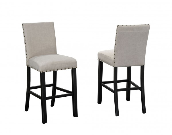 AVERY 24'' BARSTOOL W/BEIGE FABRIC (BAR STOOL SET OF 2 )