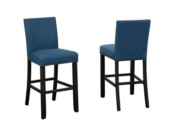 AVERY 24'' BARSTOOL W/BLUE FABRIC (BAR STOOL SET OF 2 )