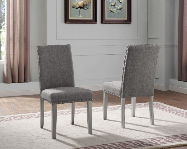BELLA SIDE CHAIR W LIGHT GREY FABRIC (DINING CHAIR SET OF 2 )