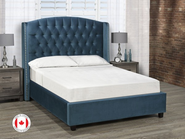 Sophia Catcher Platform Bed, Queen Size - Dark Teal Velvet