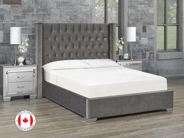 Kona Platform Bed, Queen Size - Ivory Fabric