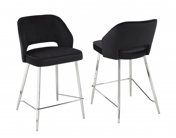 COUNTER STOOL, SET OF 2 - BLACK