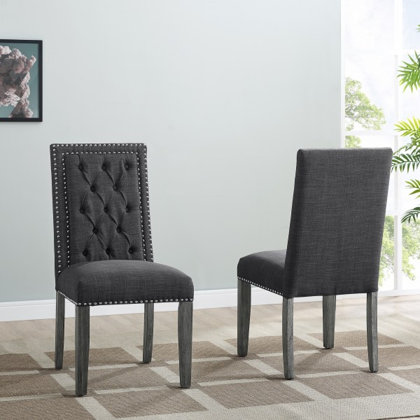 BROOKLYN SIDE CHAIR W/DARK GREY FABRIC (DINING CHAIR SET OF 2 )