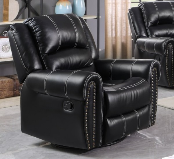 CALYPSO RECLINER CHAIR WITH ROCKER AND SWIVEL, BLACK
