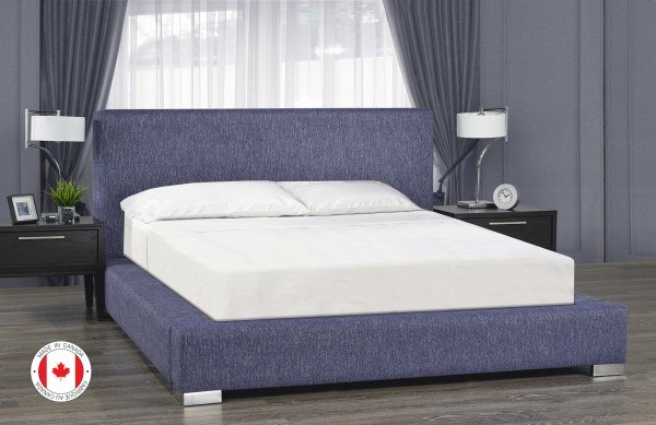 Jasper Platform Bed, Queen Size - Blue Linen