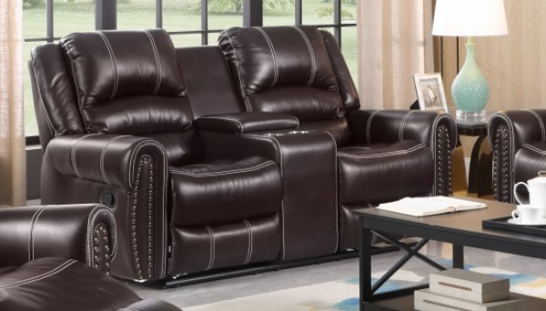 CAIRO RECLINER LOVESEAT WITH CONSOLE, CHOCOLATE