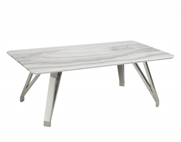 COFFEE TABLE - WHITE/SILVER