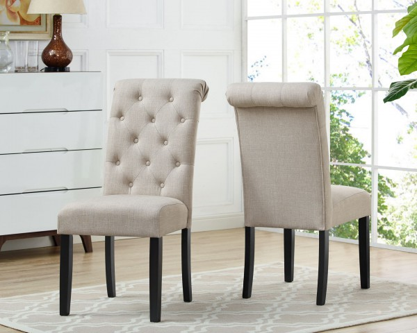 TINGA SIDE CHAIR W/BEIGE FABRIC (DINING CHAIR SET OF 2 )