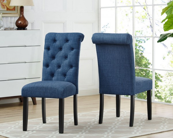 TINGA SIDE CHAIR  W/BLUE FABRIC (DINING CHAIR SET OF 2 )