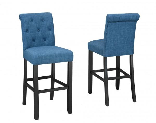 TINGA 24'' BARSTOOL W/BLUE FABRIC (BAR STOOL SET OF 2 )