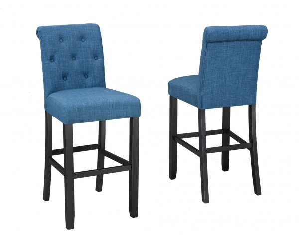TINGA 29'' BARSTOOL W/BLUE FABRIC (BAR STOOL SET OF 2 )