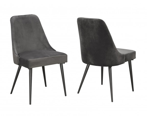LUNA DINING CHAIR GREY VELVET (DINING CHAIR SET OF 2 )