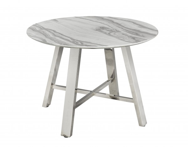 DINING TABLE - WHITE CANVAS/SILVER