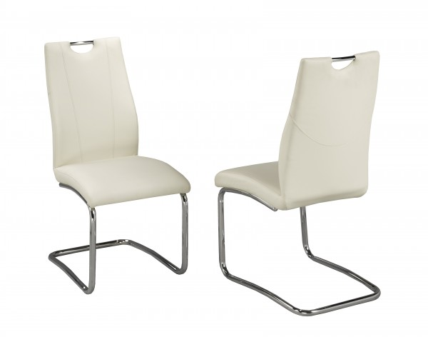 POPPY WHITE PU CHAIR W/CHROME LEGS (DINING CHAIR SET OF 2 )