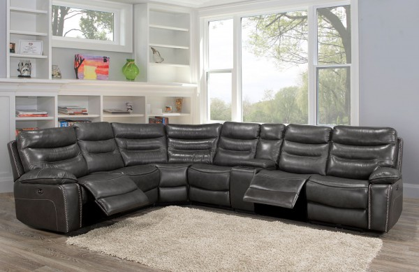 8498 SECTIONAL LEATHER GREY
