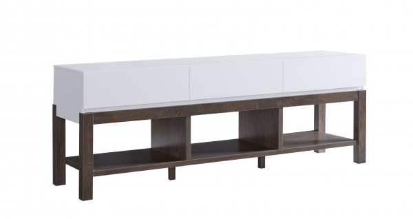 60'' TV STAND - WHITE/WALNUT OAK