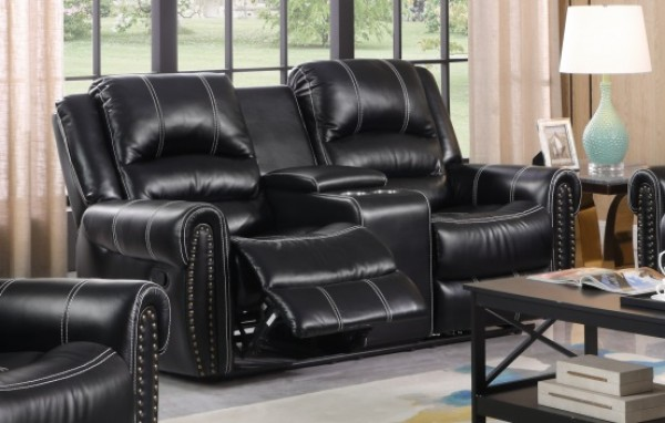CALYPSO RECLINER LOVESEAT WITH CONSOLE, BLACK