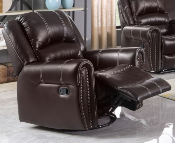 CAIRO RECLINER CHAIR WITH ROCKER AND SWIVEL, CHOCOLATE