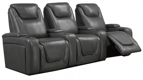 3-SEATER POWER HOME THEATRE - GREY