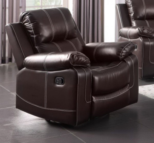 ADELLE RECLINER CHAIR WITH ROCKER AND SWIVEL, CHOCOLATE
