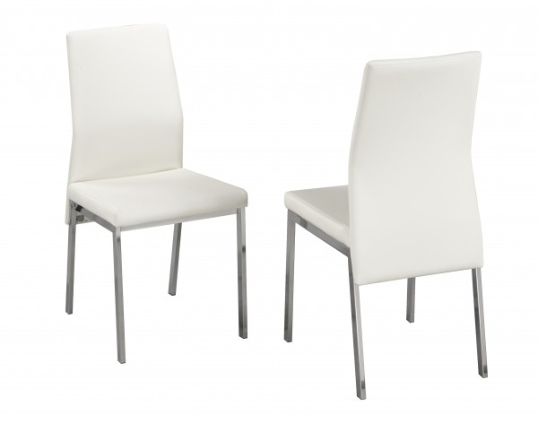 AMBER WHITE PU DINING CHAIR (DINING CHAIR SET OF 2 )