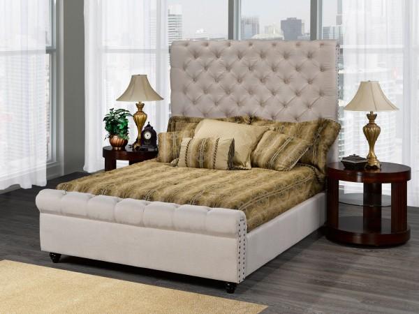 RALEIGH PLATFORM QUEEN BED (BEIGE)