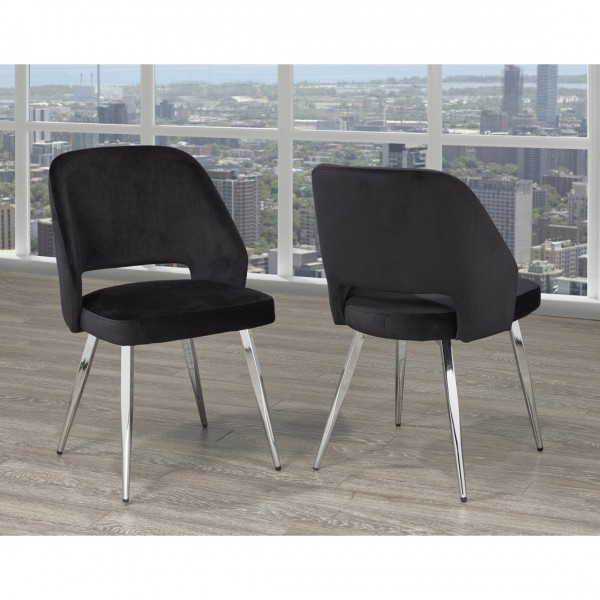ELLA DINING TABLE CHAIRS BLACK VELVET (DINING CHAIR SET OF 2 )