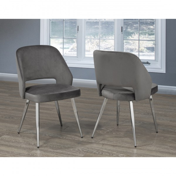 ELLA DINING TABLE CHAIRS GREY VELVET (DINING CHAIR SET OF 2 )