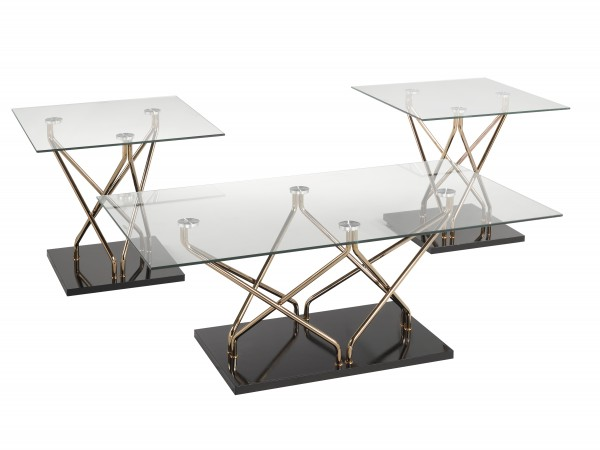 3-PIECE COFFEE TABLE SET - BLACK/ROSE GOLD