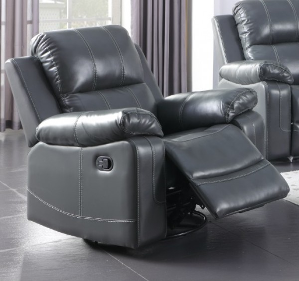 AAMIRA RECLINER CHAIR WITH ROCKER AND SWIVEL, GREY