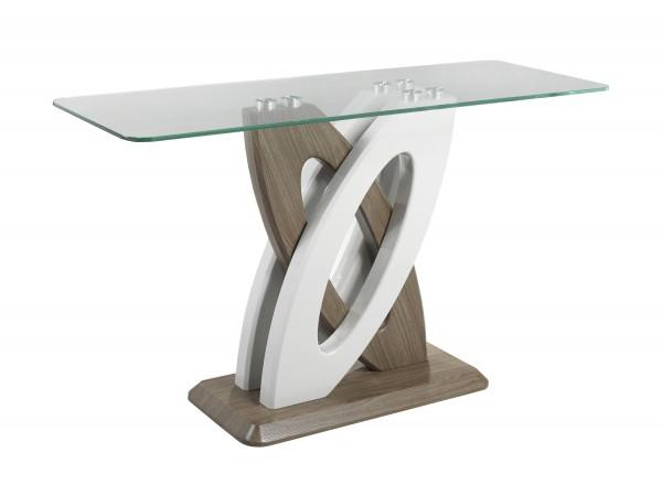SOFA TABLE - WHITE/WALNUT