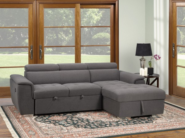 Bentley Sectional with Pull Out Bed & Storage Chaise, Grey