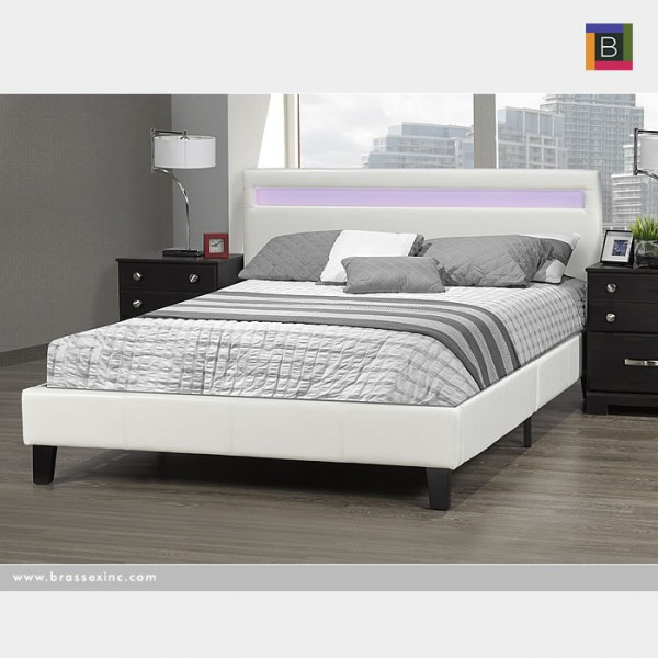 QUEEN BED IN A BOX WHITE W/LIGHT